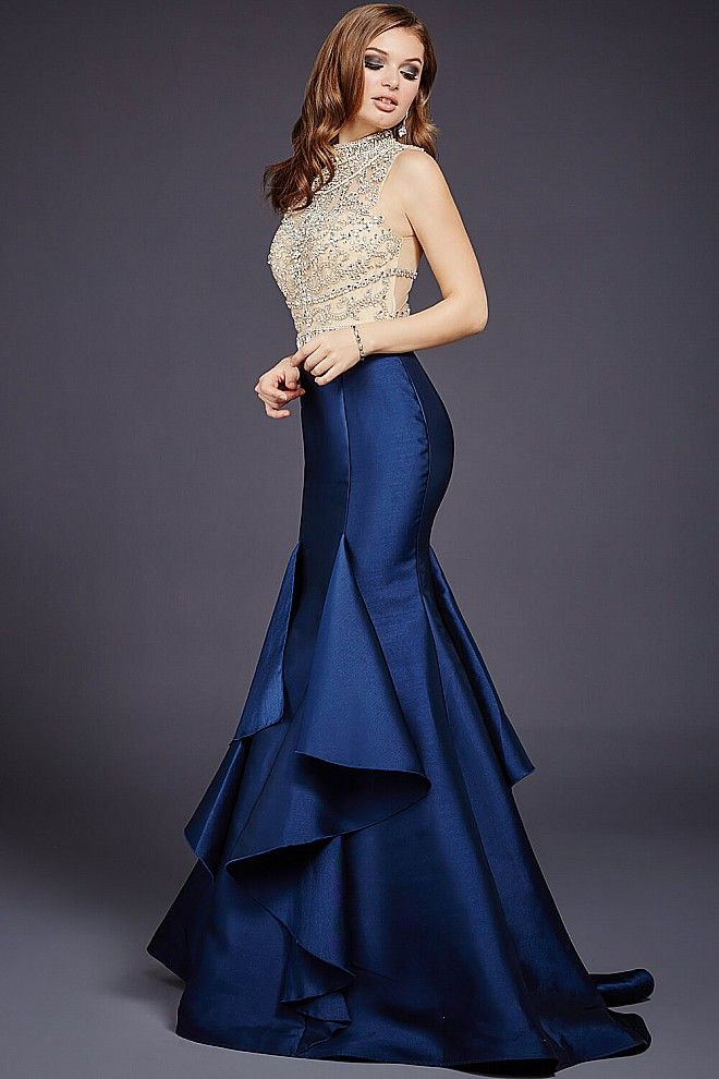 Navy and Nude Embellished Top Ruffled Skirt Dress 29351 | Ring dance ...