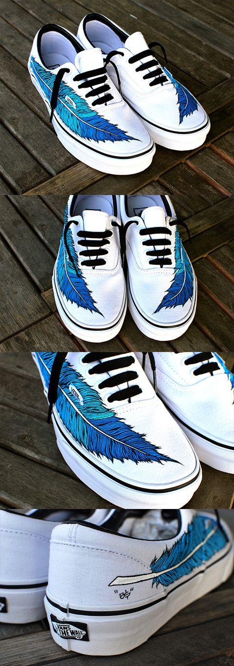bc86eaea1691 Hand Painted Eagle Feather on White Vans Era Shoe - customizable ...
