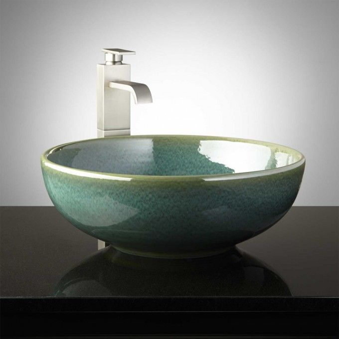 Mendota Hand-Glazed Pottery Vessel Sink - Robin\u0027s Egg Bathroom - Vessel Sinks Bathroom