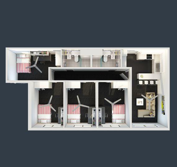ECU Village 4 Bedroom Apartment Floor Plan