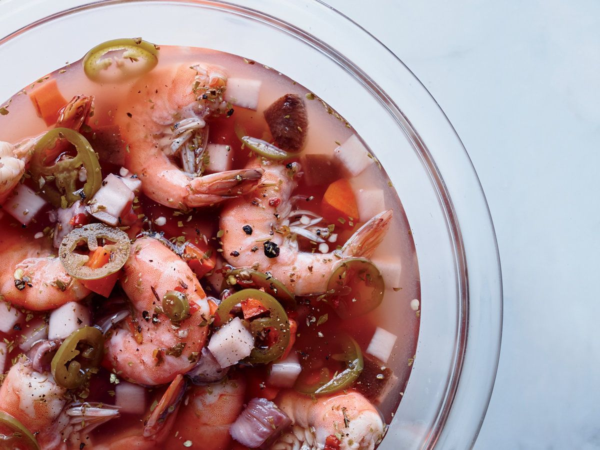 Jalapeno Pickled Shrimp And Vegetables Food Wine S Excellent Pickled Shrimp Recipe Can Be Made Up To Three Shrimp And Vegetables Recipes Vegetable Recipes
