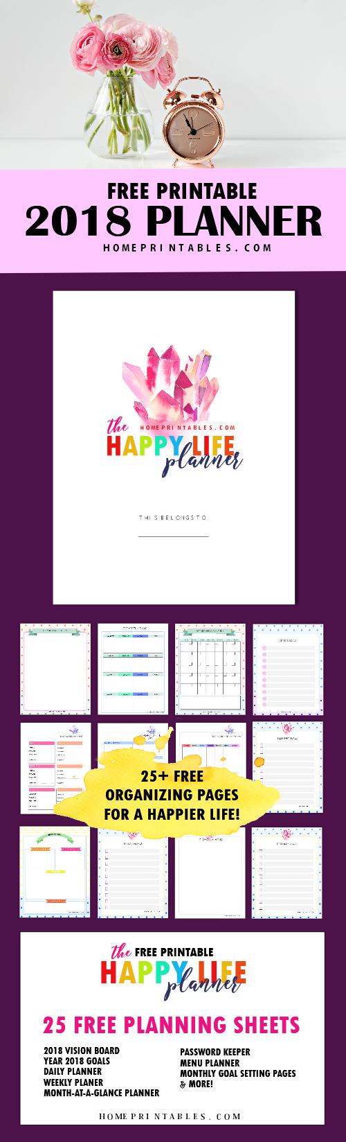 FREE Printable 2018 Planner: 25 Amazing Organizers