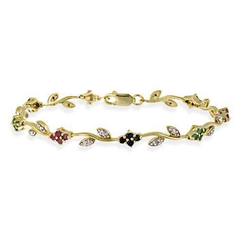 18K Gold over Sterling Silver Ruby, Sapphire, & Emerald Diamond Accent Flower Bracelet SilverSpeck.com, http://www.amazon.com/dp/B002WAKQ8M/ref=cm_sw_r_pi_dp_JbUgrb02BA7G1