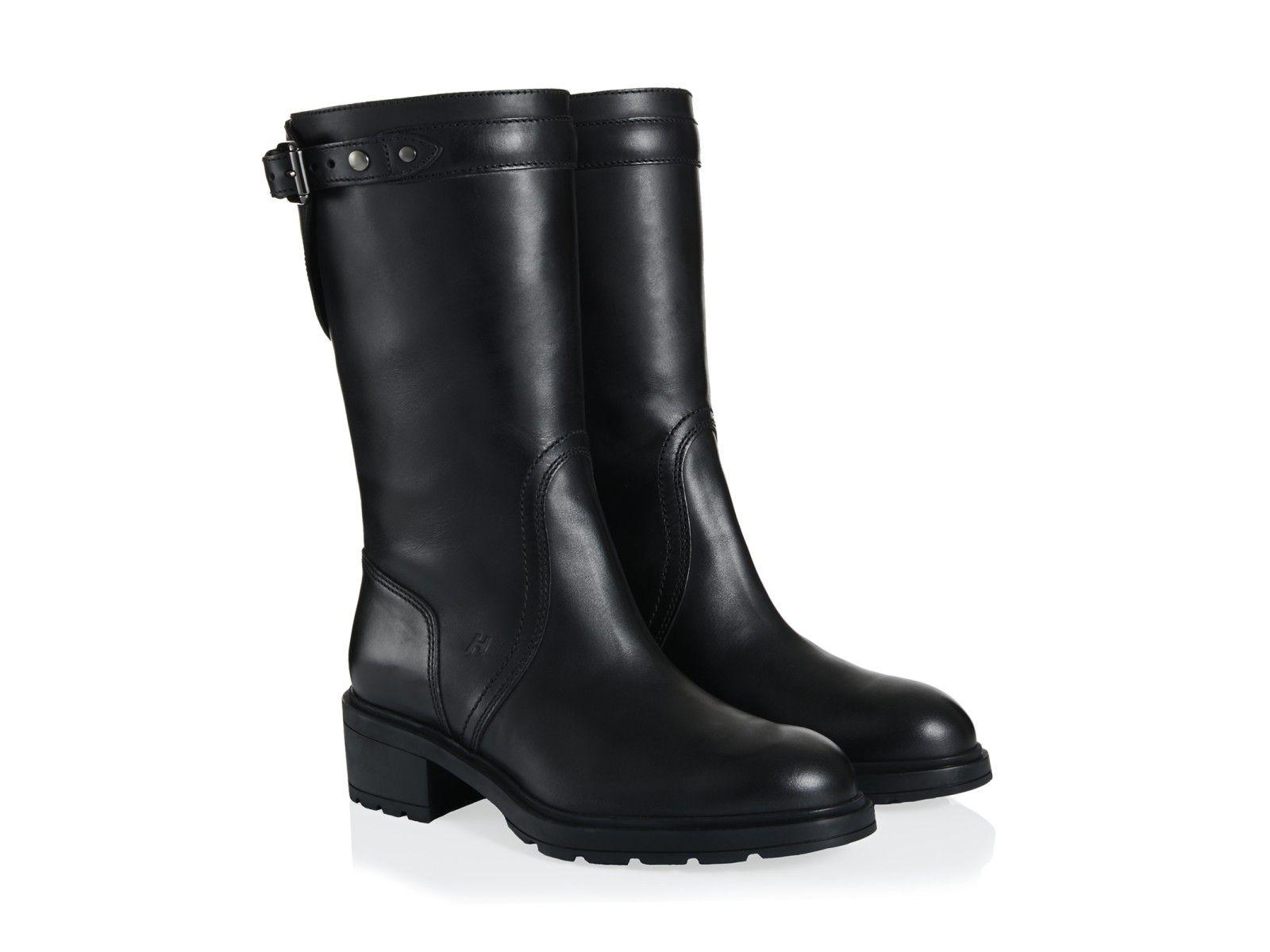 456bdfa37c83e Hogan women midcalf boots in black genuine Leather