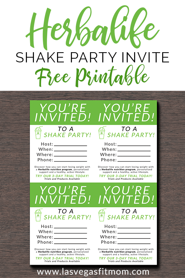 Herbalife Shake Party Invites Free Printable Las Vegas Fit Mom