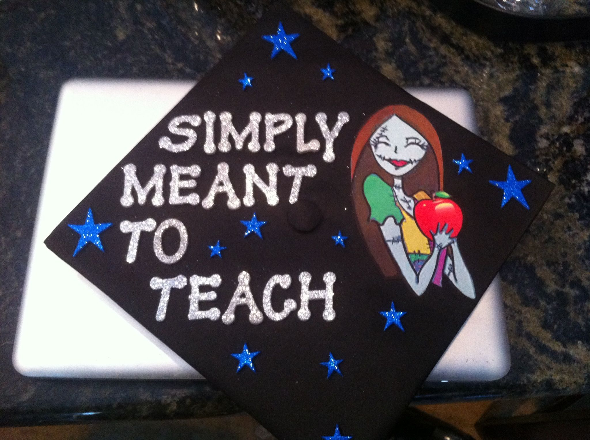 Decorating graduation cap ideas for teachers - My Graduation Cap Obsessed With The Nightmare Before Christmas And I M Going To Be A Teacher
