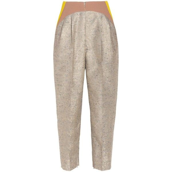 Delpozo Tapered Metallic Pants (16.470 ARS) ❤ liked on Polyvore featuring pants, gold, taper cut pants, metallic gold pants, pleated pants, tapered fit pants and zipper pants