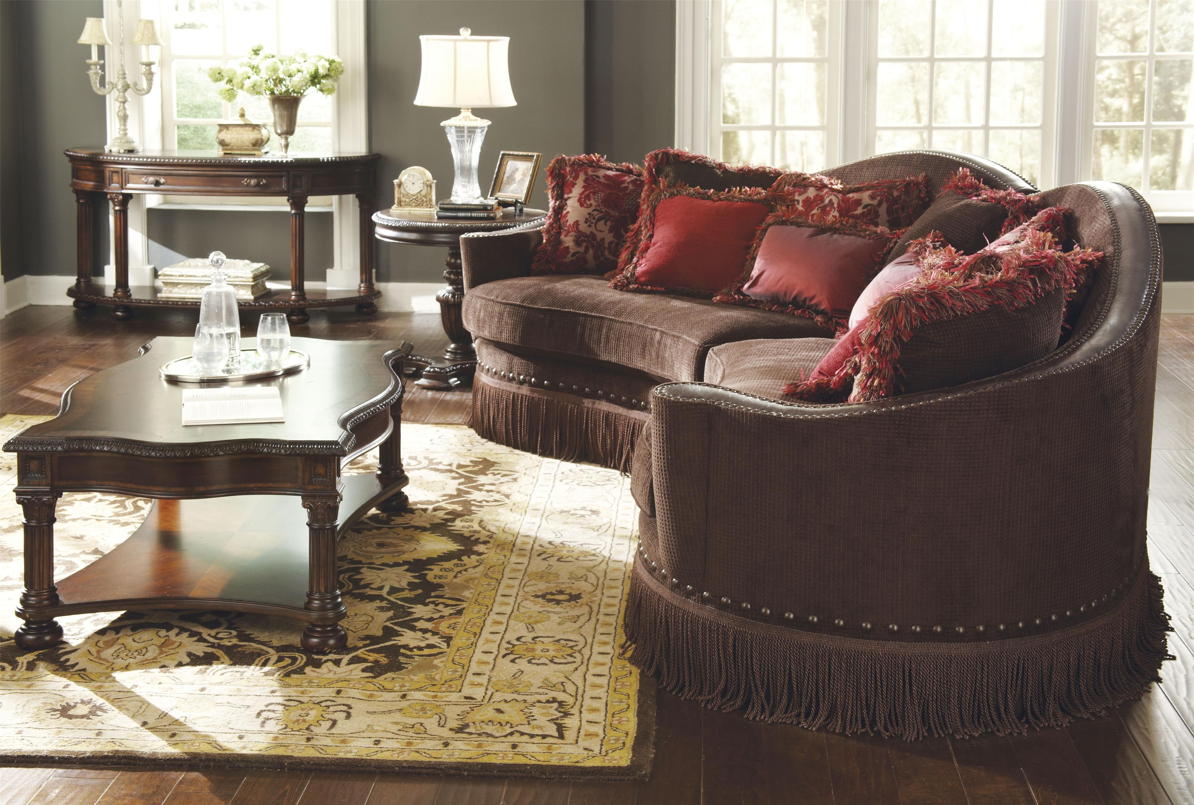 Capri Upholstered Furniture Isabella Sofa In Conversation Shape With Fringe  Skirt By A.R.T. Furniture Inc