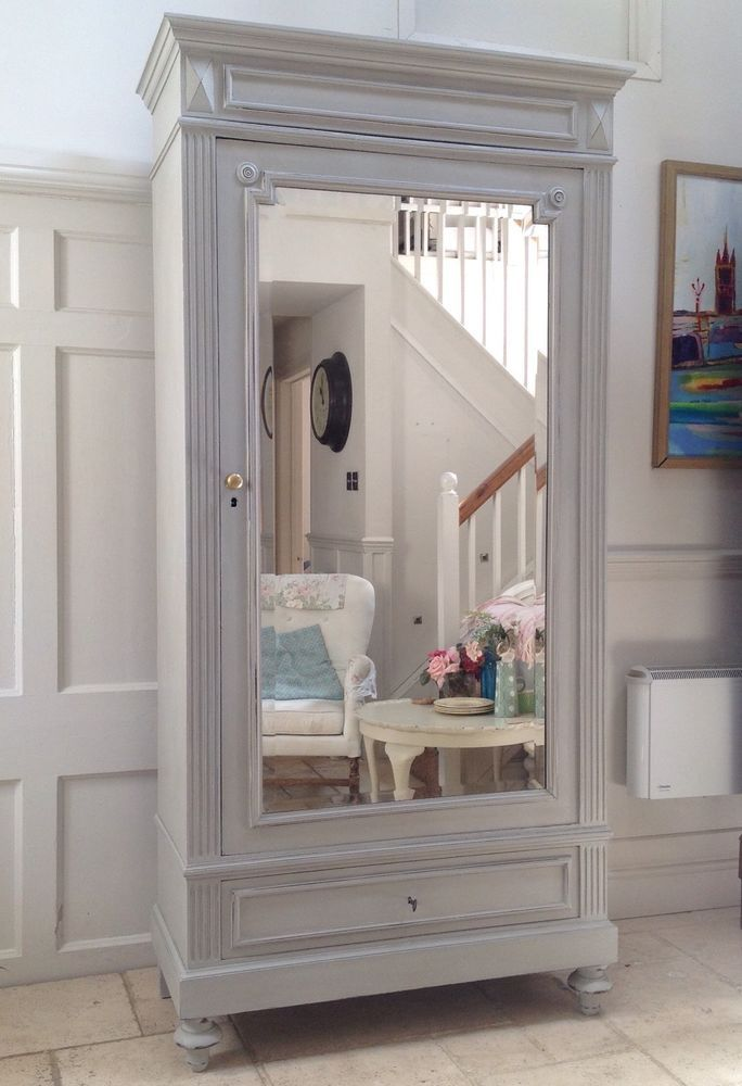 Antique French Henri Painted Oak Mirrored Armoire Wardrobe Hall