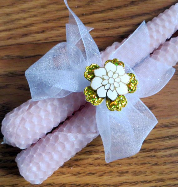 Pale pink Hostess Gift Decor Beeswax candles by CarmelasCreations