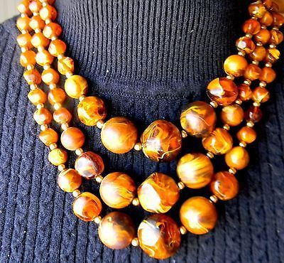 Vintage Bakelite Lucite Marble Brown Amber Chunky Bead 3 string Necklace