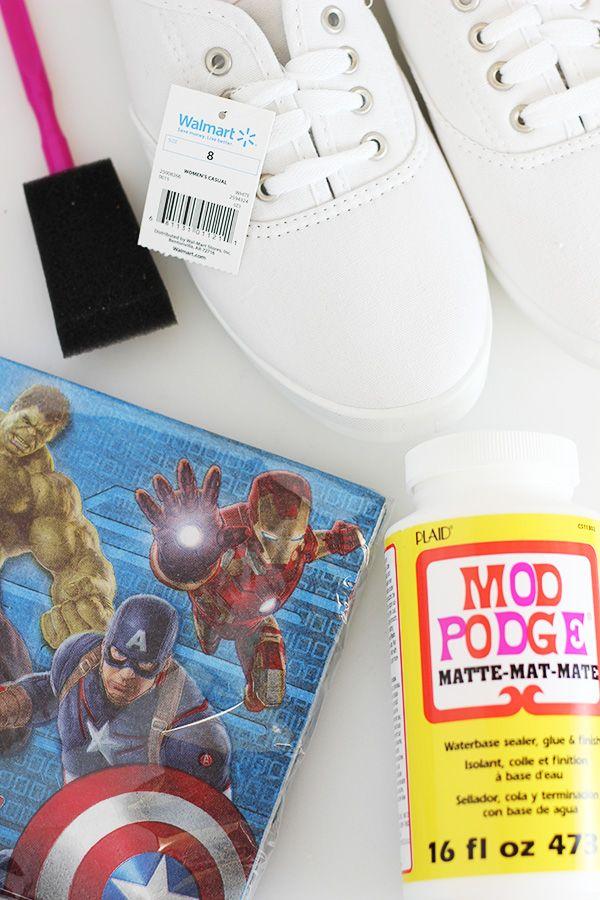 DIY Avengers Superhero Shoes | Shoe crafts, Mod podge ...