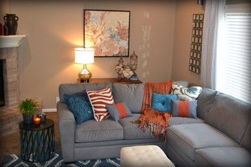 Best Casual Orange Blue And Gray Family Room Traditional 640 x 480