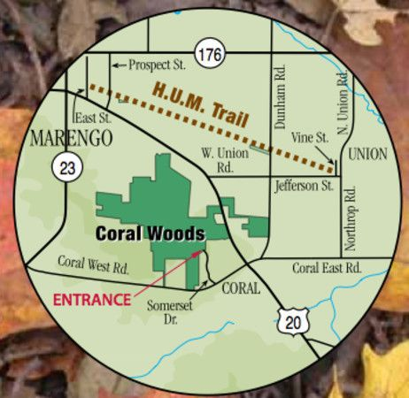 Coral Woods is home to a sugar maple forest, oak canopied woodland and display of spring wildflowers. Featuring over 3 miles of looped interpretive trails, picnic shelter, fireplace and restrooms.