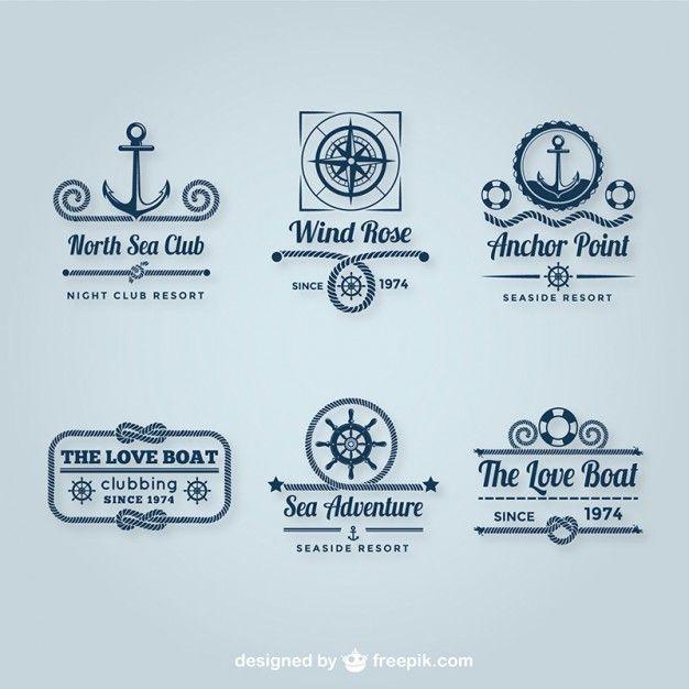 Sailing logos pack Free Vector