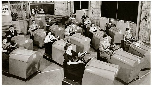 Just another fun filled day at Drivers Ed class, Brooklyn High, 1955.