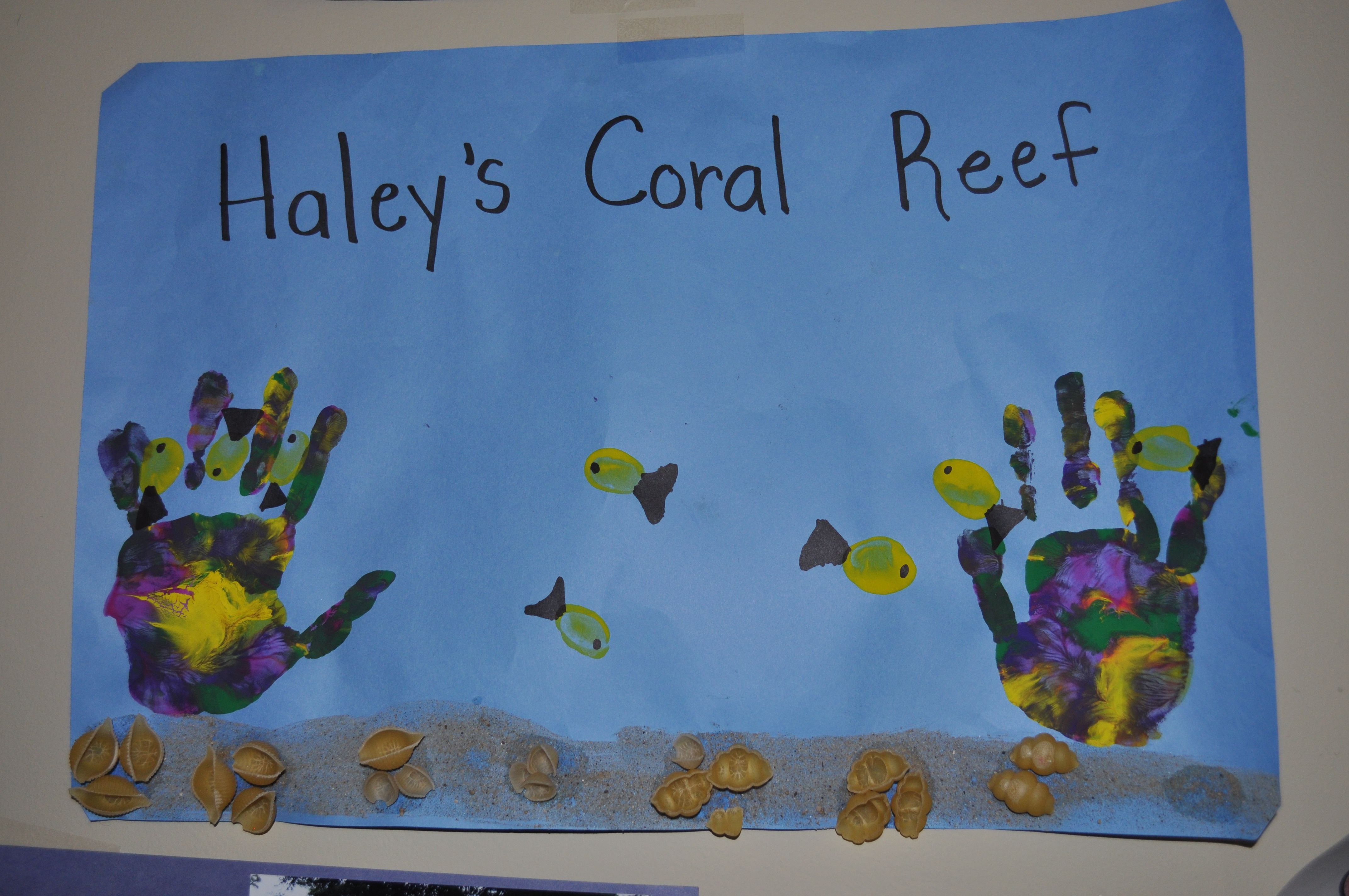 Coral Reef Handprint Coral Thumbprint Fish And Shells And