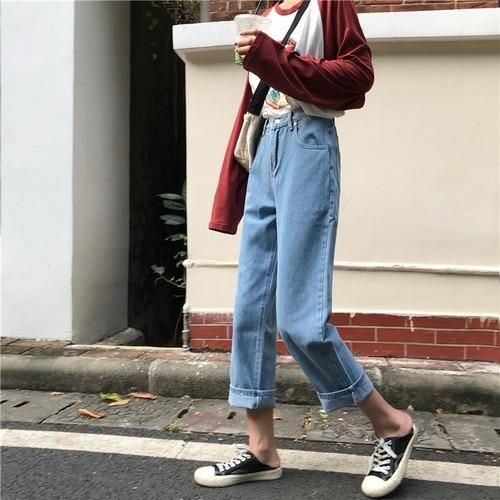 Jeans Denim Women New Chic Solid Simple High Waist Straight Zipper All-match Womens Korean Style Loose Fashion Students Daily - white L
