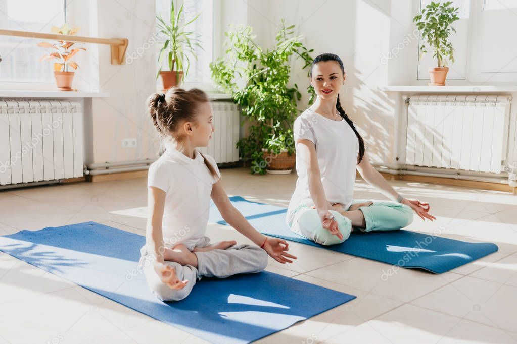 Mom daughter yoga stock photo sponsored daughter