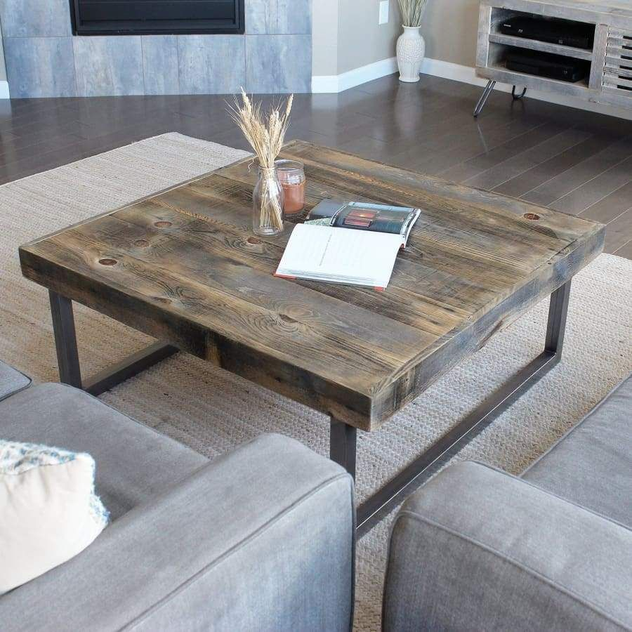 - Reclaimed Wood And Metal Square Coffee Table, Tube Steel Legs
