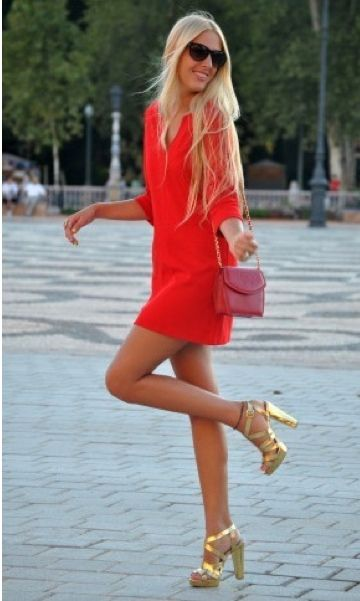 perfect red dress | Fashion done right | Pinterest | Gold shoes ...