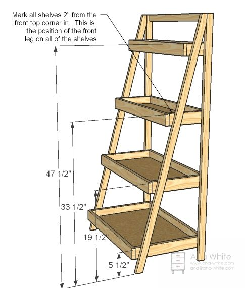 Painter s ladder shelf can use wooden boxes instead of for Ladder project