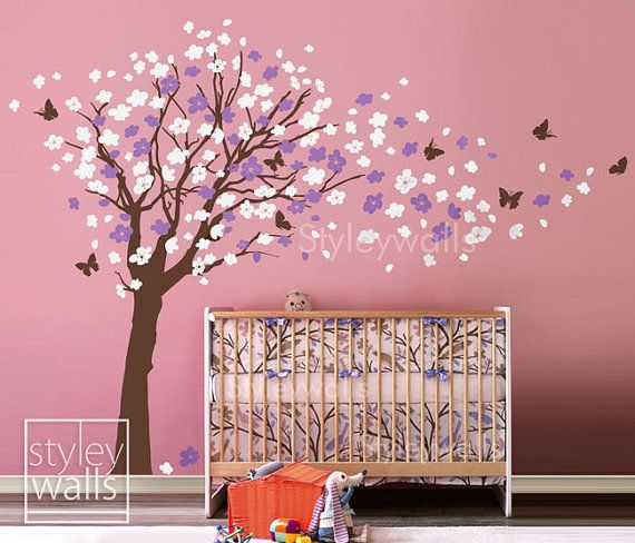 Flower Tree Wall Decal Tree And Butterflies In The Wind Wall Decal - Vinyl wall decals butterflies