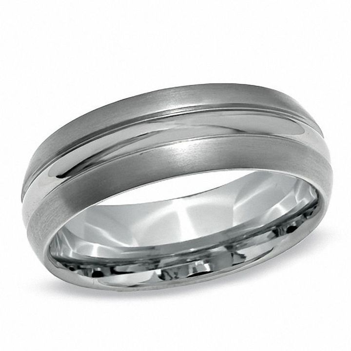 Zales Ladies 8.0mm Comfort Fit Wedding Band in Sterling Silver (2 Lines) 7jiCA57f7m