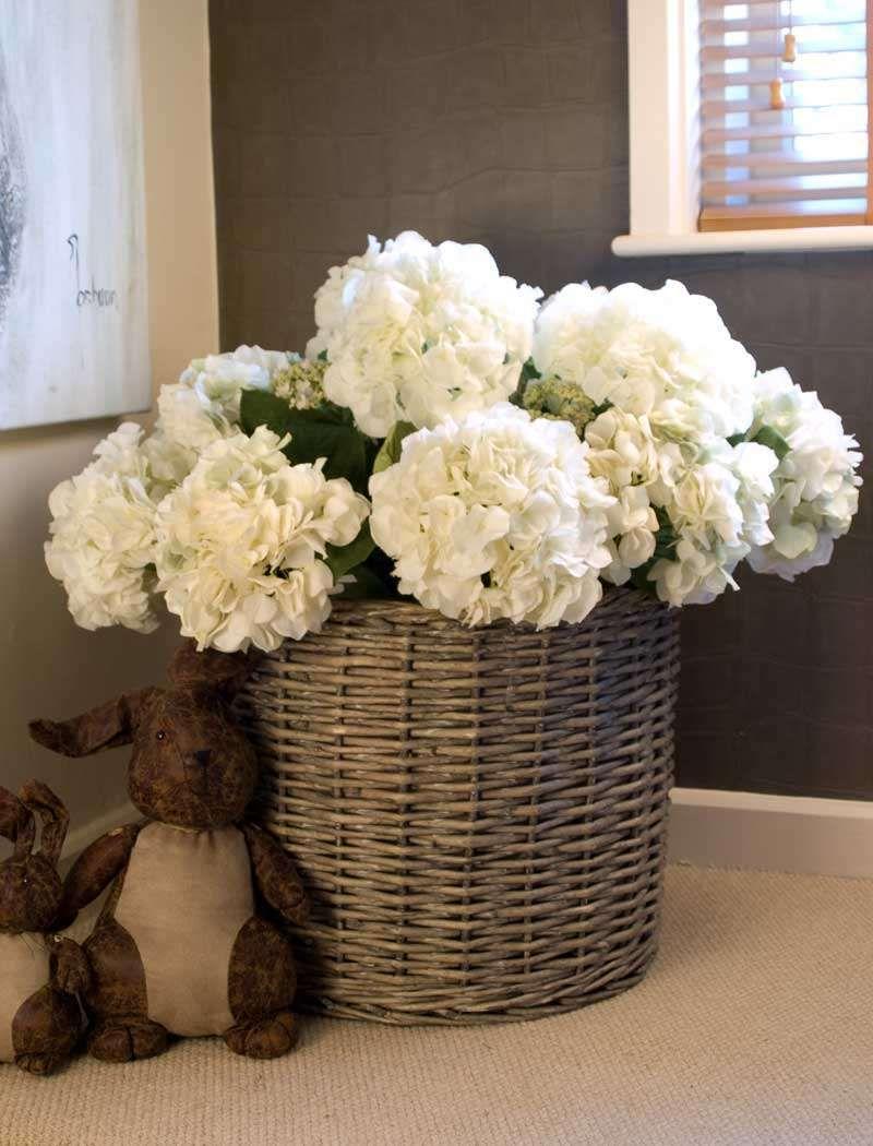 Hydrangea Basket Round Rtfact Artificial Silk Flowers