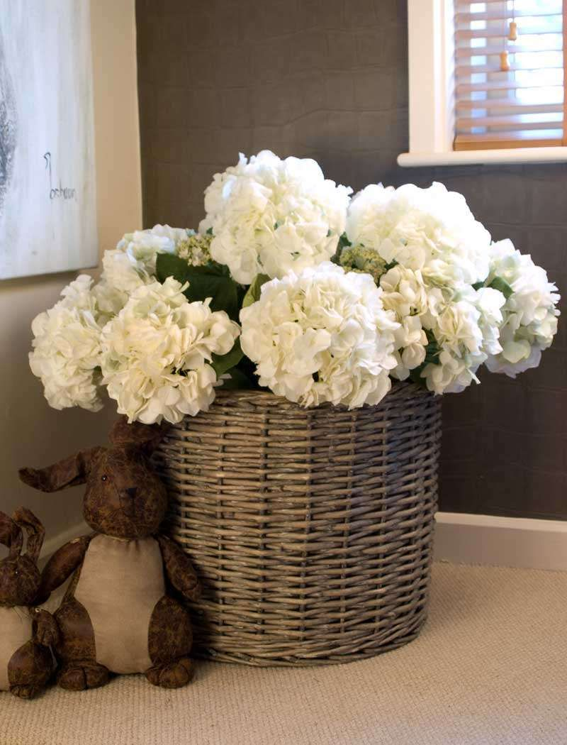 Home decor artificial flowers  Hydrangea Basket round  RTfact  Artificial Silk Flowers