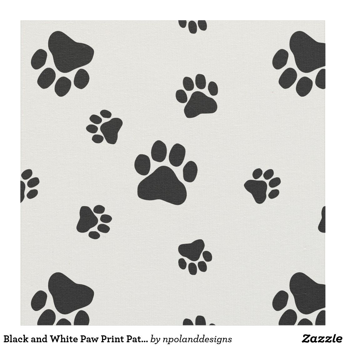 Black and White Paw Print Pattern Fabric v2 Paw print
