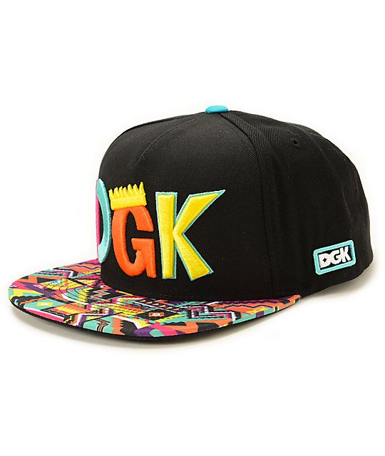 afdf9cb13c5 A wild multicolor print bill accents the solid black body with a DGK crown  text embroidered at the front plus a white Dirty Ghetto Kids script  embroidered ...