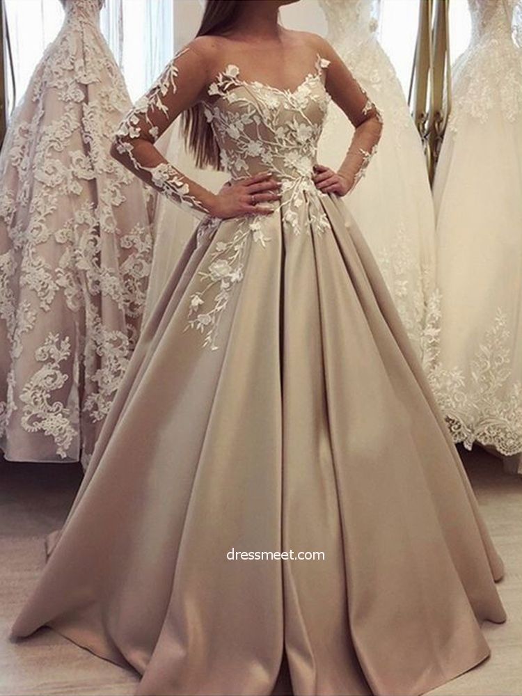 ad3922f79af Gorgeous Ball Gown Scoop Long Sleeves Lace Champagne Long Prom Dresses