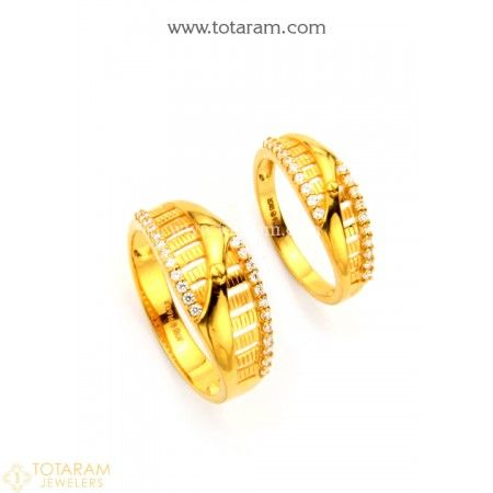 8da4bf581 22K Gold Couple Wedding Bands With Cz - 235-GR4177 - Buy this Latest Indian  Gold Jewelry Design in 9.100 Grams for a low price of $584.30