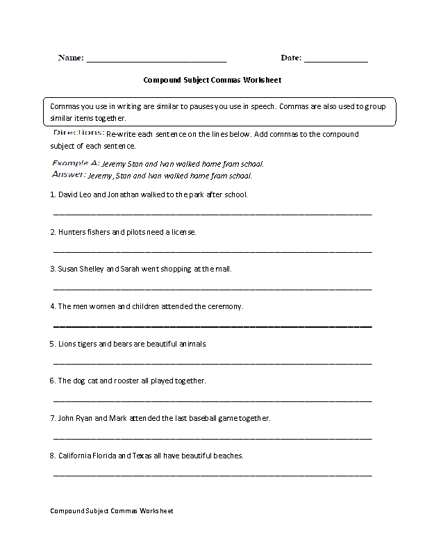 Compound Subjects Commas Worksheet commas – Comma Worksheets High School