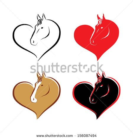 Set of decorative heart with horse