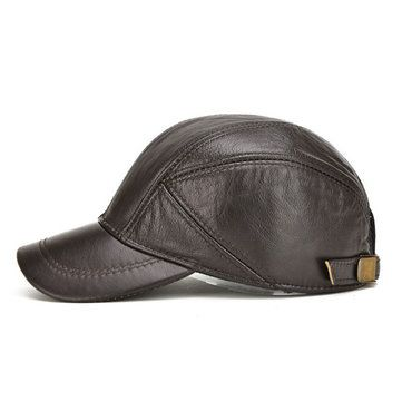 New Mens Winter Genuine Leather Baseball Caps With Ear Flaps Outdoor Warm  Trucker Hats 325ee17b2ba6