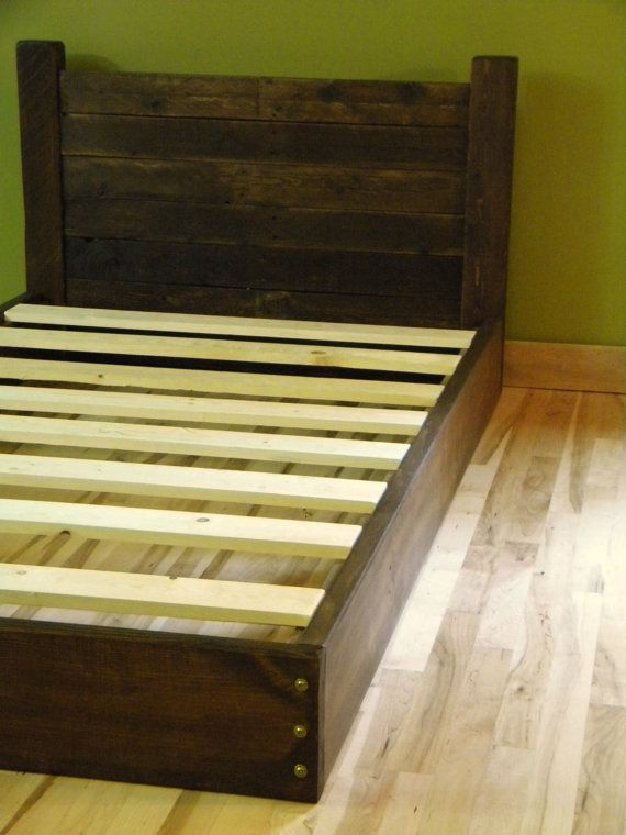Platform Bed Twin Bed Low Profile Bed Bed Frame Headboard Reclaimed Wood On Etsy 450 00 Wood Bed Frame Diy Diy Bed Frame Diy Platform Bed