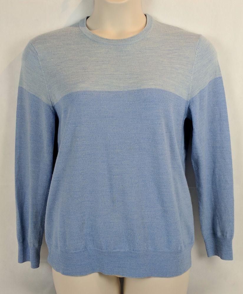 a39ea2a5638b M Calvin Klein CK Men s Crewneck 100% Soft Merino Wool Sweater-Two Tone  Blue  CalvinKlein  Crewneck