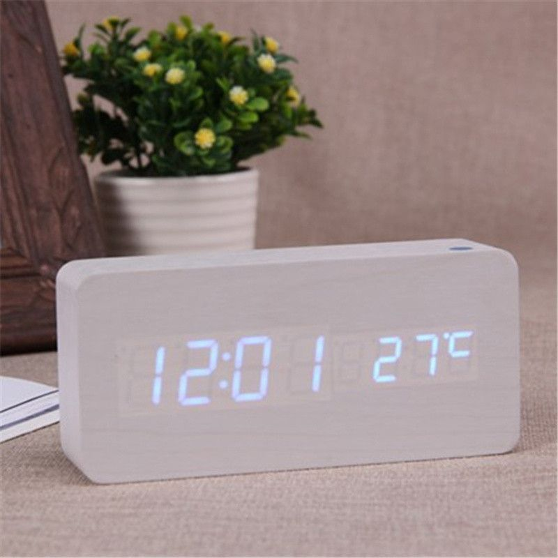 LED wooden Board alarm clock+Temperature digital table clock with voice activated,Battery/USB power