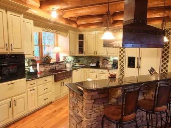 breathtaking log cabin kitchen with raised bar countertop on - Log Cabin Kitchen Ideas