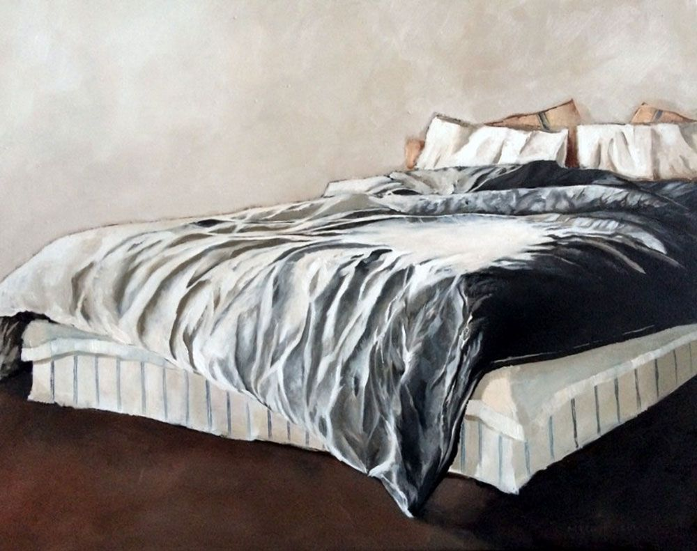 unmade bed side view. Unmade Bed - Oil Painting By Mila Posthumus Side View