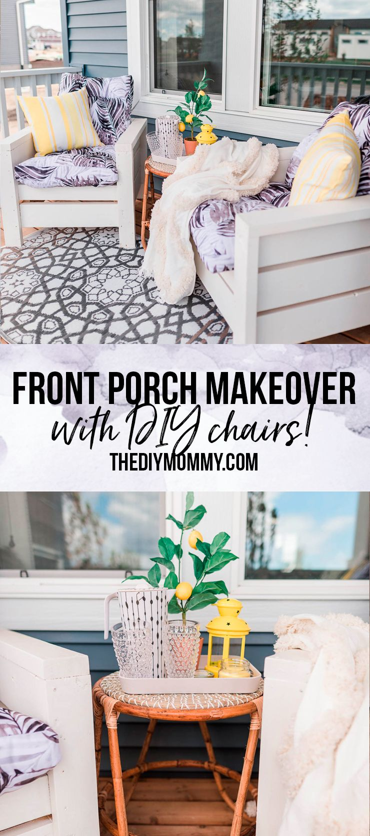 Pleasing Cheerful Front Porch Makeover With Diy Outdoor Chairs Machost Co Dining Chair Design Ideas Machostcouk