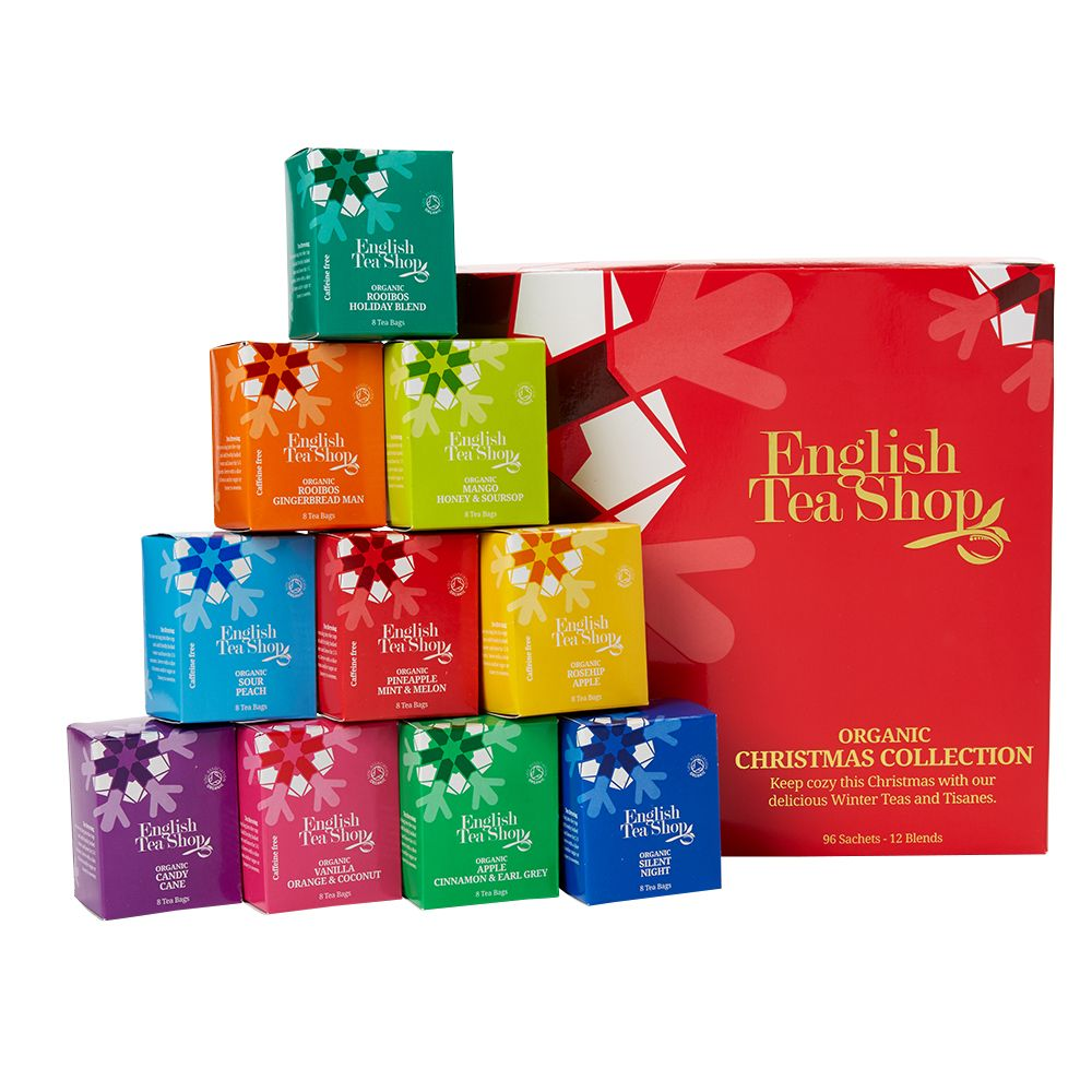 English Tea Shop Christmas Tea Collection £10 Think spiced flavours, gingerbread and fruity flavours. Food Gift Sets, Cheese Hampers, Sweets, Chocolates | Moonpig UK