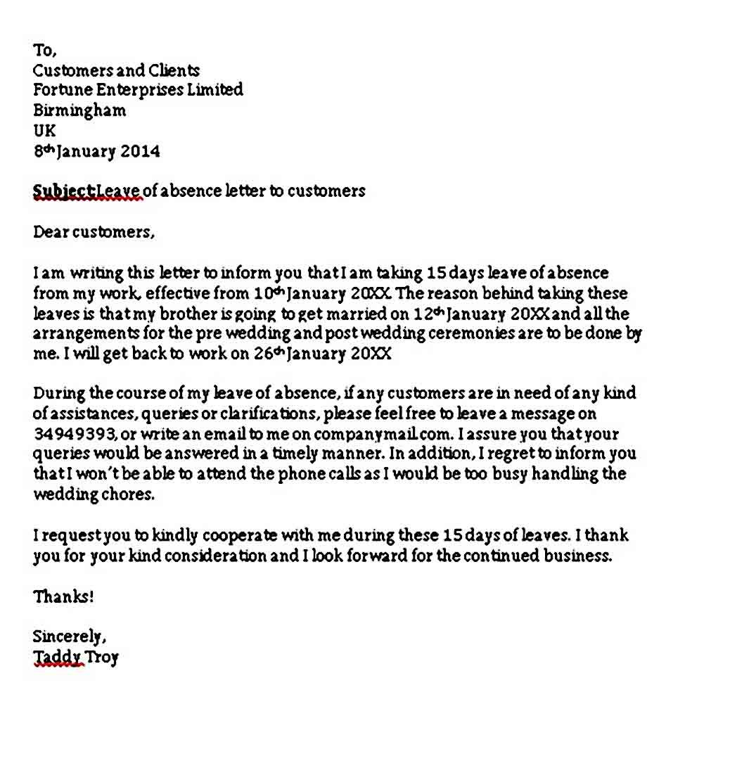 Sample Leave of Absence Letter with the Proper Format PDF