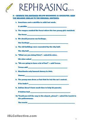 Rephrasing Paraphrase English Writing Skill Paraphrasing Activities Exercise