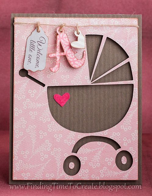 Baby girl card with homemade charms (Silhouette Cameo) Finding