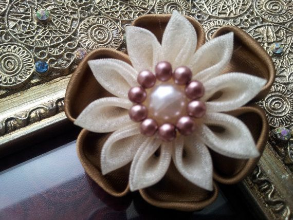 Kanzashi Flower with Glass Pearl center and by RosesBowses on Etsy, $4.50