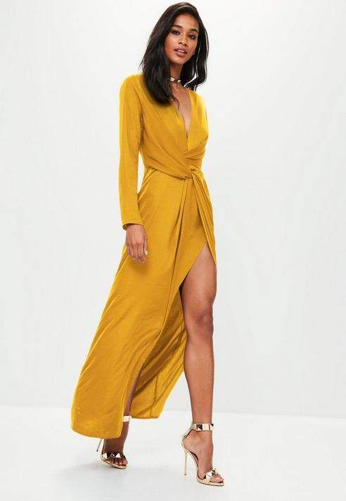 38d20e86e7353 Missguided Mustard Yellow satin asymmetric twist front maxi dress ...