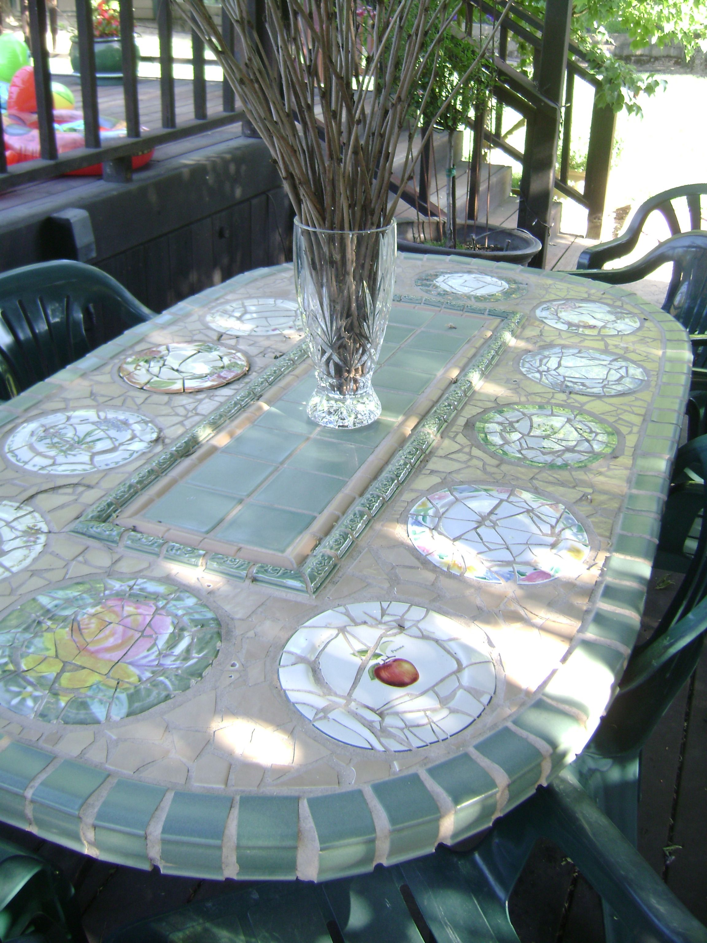mosaic patio table I made from iron table legs I got at yard sale ...